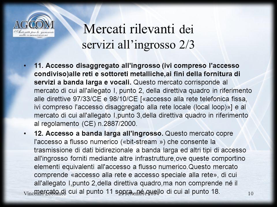 Vincenzo Lobianco29 settembre 200410 Mercati rilevanti dei servizi allingrosso 2/3 11.
