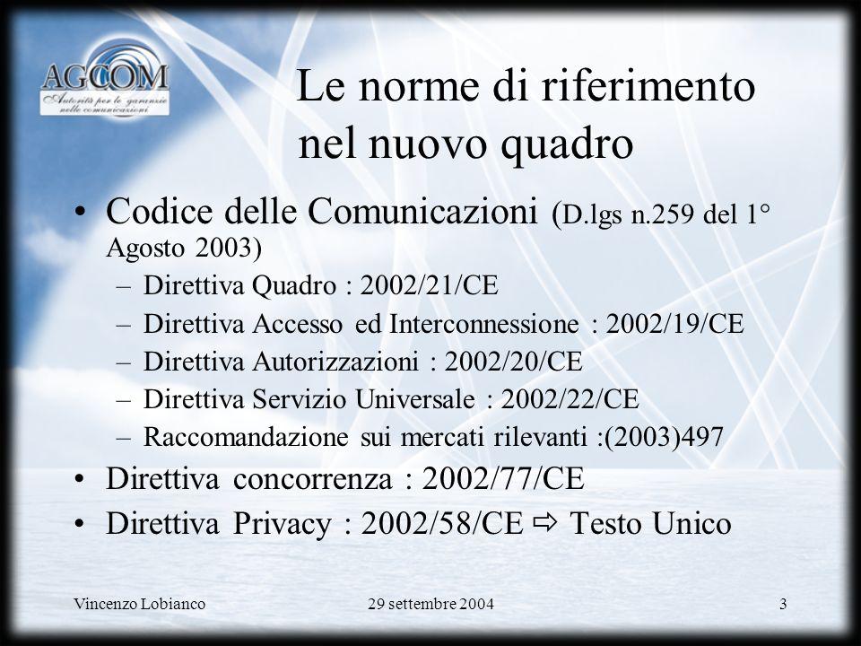 Vincenzo Lobianco29 settembre 20044 Il nuovo quadro regolamentare Linee Guida (1/2) Nellambito della processo di convergenza dei settori TLC, media e tecnologie della informazione, necessità di assoggettare tutte le reti di trasmissione ed i servizi correlati ad un unico quadro normativo Separazione della disciplina dei contenuti da quella relativa ai mezzi di trasmissione: focus sulla regolazione delle reti e dei servizi di comunicazione elettronica Conferma delle funzioni e competenze delle Autorità Nazionali di Regolamentazione (ANR) Previsione di procedure armonizzate per lapplicazione nella Comunità