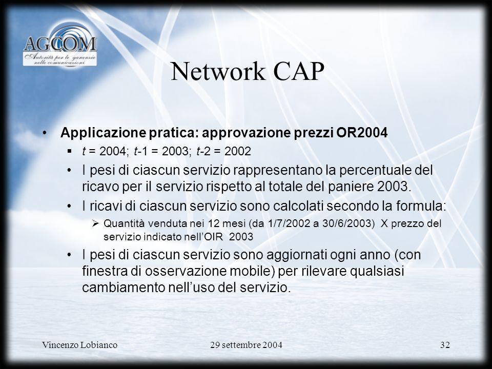 Vincenzo Lobianco29 settembre 200432 Applicazione pratica: approvazione prezzi OR2004 t = 2004; t-1 = 2003; t-2 = 2002 I pesi di ciascun servizio rappresentano la percentuale del ricavo per il servizio rispetto al totale del paniere 2003.