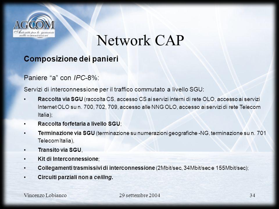Vincenzo Lobianco29 settembre 200434 Network CAP Composizione dei panieri Paniere a con IPC-8%: Servizi di interconnessione per il traffico commutato a livello SGU: Raccolta via SGU (raccolta CS, accesso CS ai servizi interni di rete OLO, accesso ai servizi Internet OLO su n.