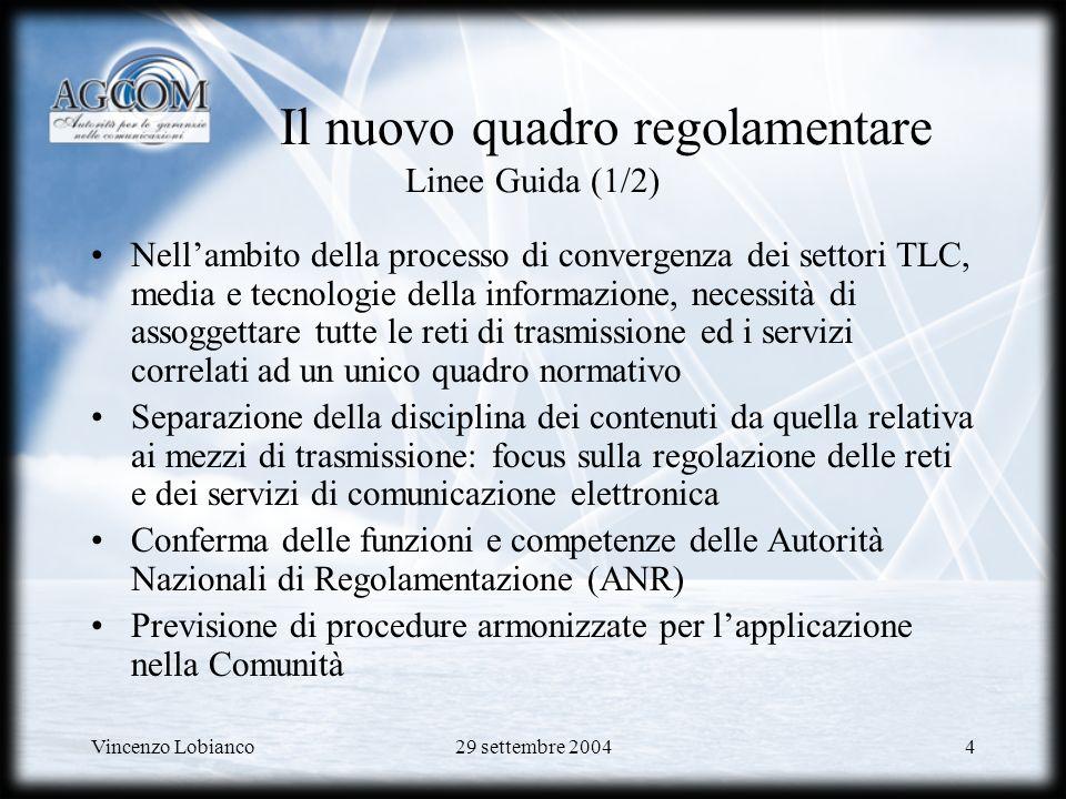 Vincenzo Lobianco29 settembre 200425 Full unbundling E possibile utilizzarlo per diverse tipologie di servizio: –POTS e ISDN per voce e dati –ADSL (residenziale e business) –HDSL e SDSL (servizi dati professionali)