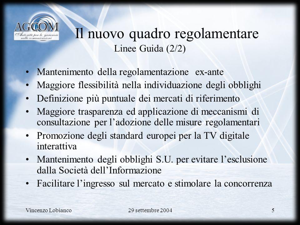 Vincenzo Lobianco29 settembre 200456 Struttura offerta ADSL wholesale Offerta ADSL wholesale ad accessi singoli in modalità flat: canone accesso + canone banda ATM PCR (down/up)/anno * 640/128 Kbit/s174,27 1280/256 Kbit/s210,00 2048/512 Kbit/s280,00 * Valori IVA esclusa PCR (Kbit/s)/anno * 768836,52 1.0241.077,48 1.5361.539,27 2.0481.982,55 4.0963.647,89 6.1445.211,35 8.1926.712,12 34.00023.474,49 155.000100.663,86
