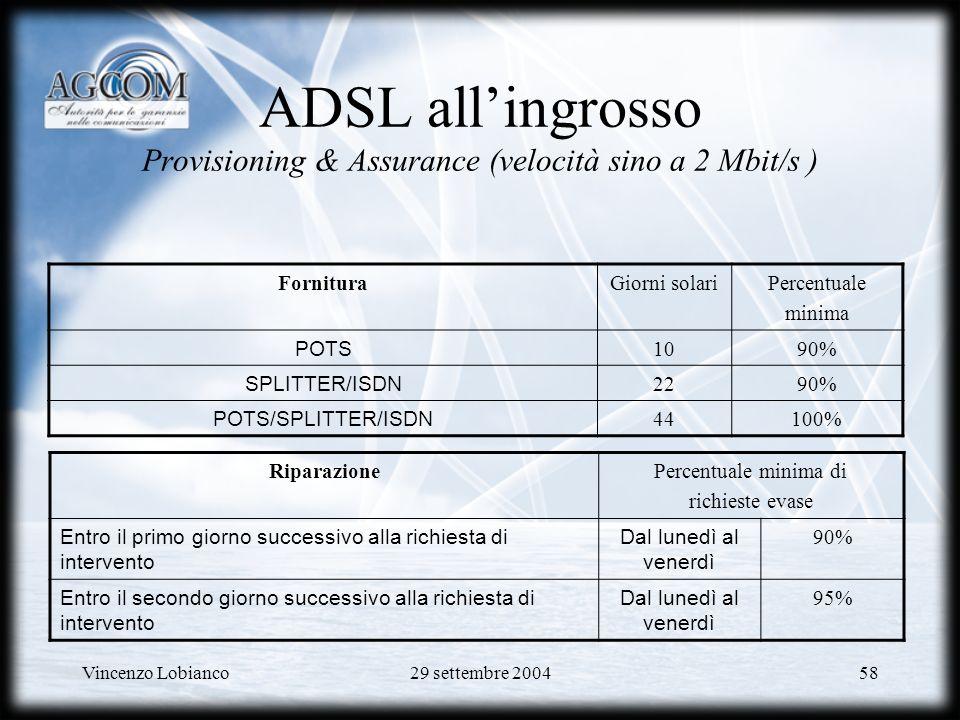 Vincenzo Lobianco29 settembre 200458 ADSL allingrosso Provisioning & Assurance (velocità sino a 2 Mbit/s ) FornituraGiorni solariPercentuale minima POTS 1090% SPLITTER/ISDN 2290% POTS/SPLITTER/ISDN 44100% RiparazionePercentuale minima di richieste evase Entro il primo giorno successivo alla richiesta di intervento Dal lunedì al venerdì 90% Entro il secondo giorno successivo alla richiesta di intervento Dal lunedì al venerdì 95%