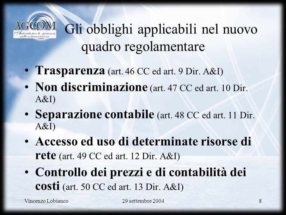 Vincenzo Lobianco29 settembre 200449 Altri servizi allingrosso CVP (Circuito Virtuale Permanente) –Accesso asimmetrico (ADSL 0.5Mbps/2Mbps up/down) –Accesso simmetrico (SHDSL 2Mbps) Accesso disaggregato (Local Loop Unbundling) –Full unbundling (Full LLU) –Sub-loop unbundling –Shared access Servizi di co-locazione per xDSL –Apparecchiature e istallazione a carico OLO –DSLAM (ADSL & SHDSL) e istallazione a carico di T.I.