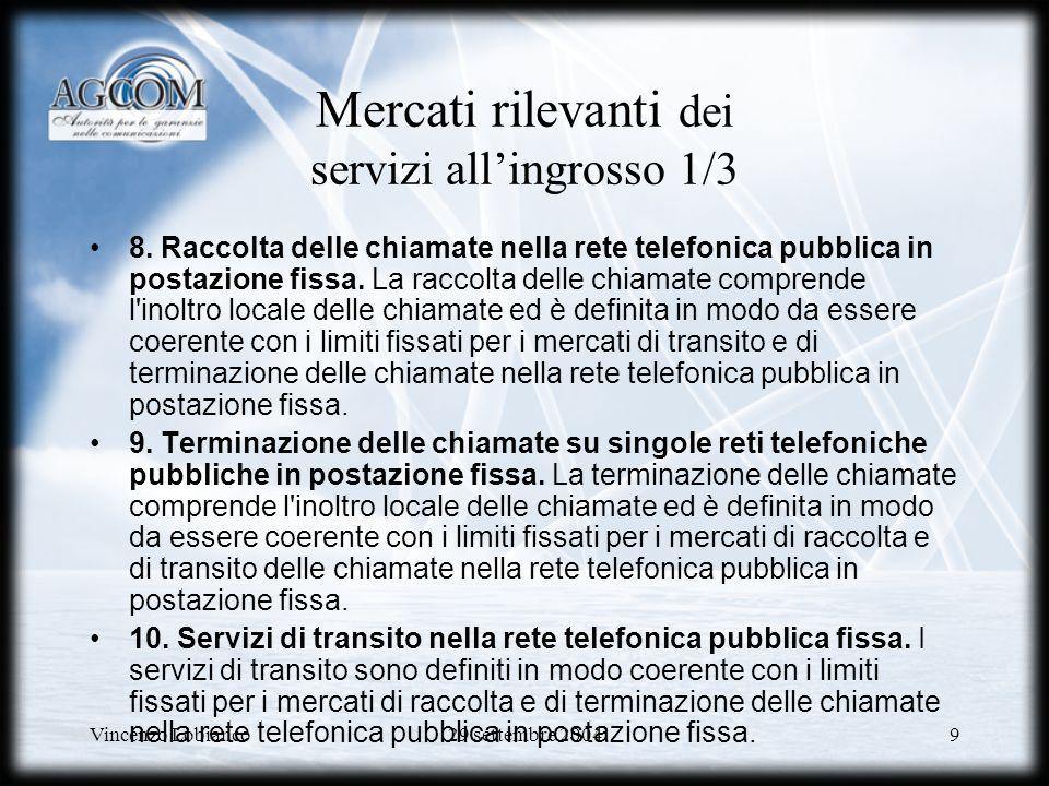 Vincenzo Lobianco29 settembre 200430 Network CAP Problema dei sussidi incrociati: Associando servizi di interconnessione potenzialmente competitivi con servizi in sostanziale monopolio Telecom Italia potrebbe ridurre il prezzo dei primi a scapito dei secondi.