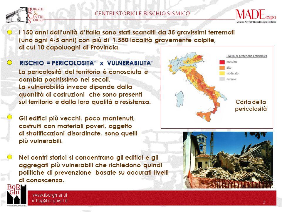 2 CENTRI STORICI E RISCHIO SISMICO I 150 anni dallunità dItalia sono stati scanditi da 35 gravissimi terremoti (uno ogni 4-5 anni) con più di 1.580 lo