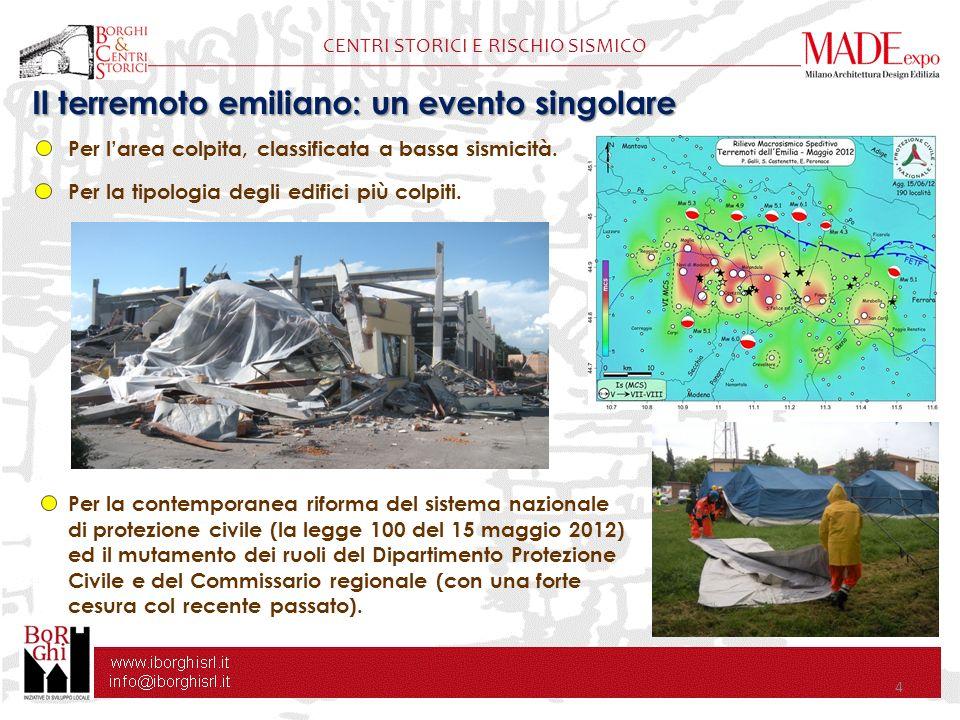 4 CENTRI STORICI E RISCHIO SISMICO Per larea colpita, classificata a bassa sismicità. Per la tipologia degli edifici più colpiti. Per la contemporanea