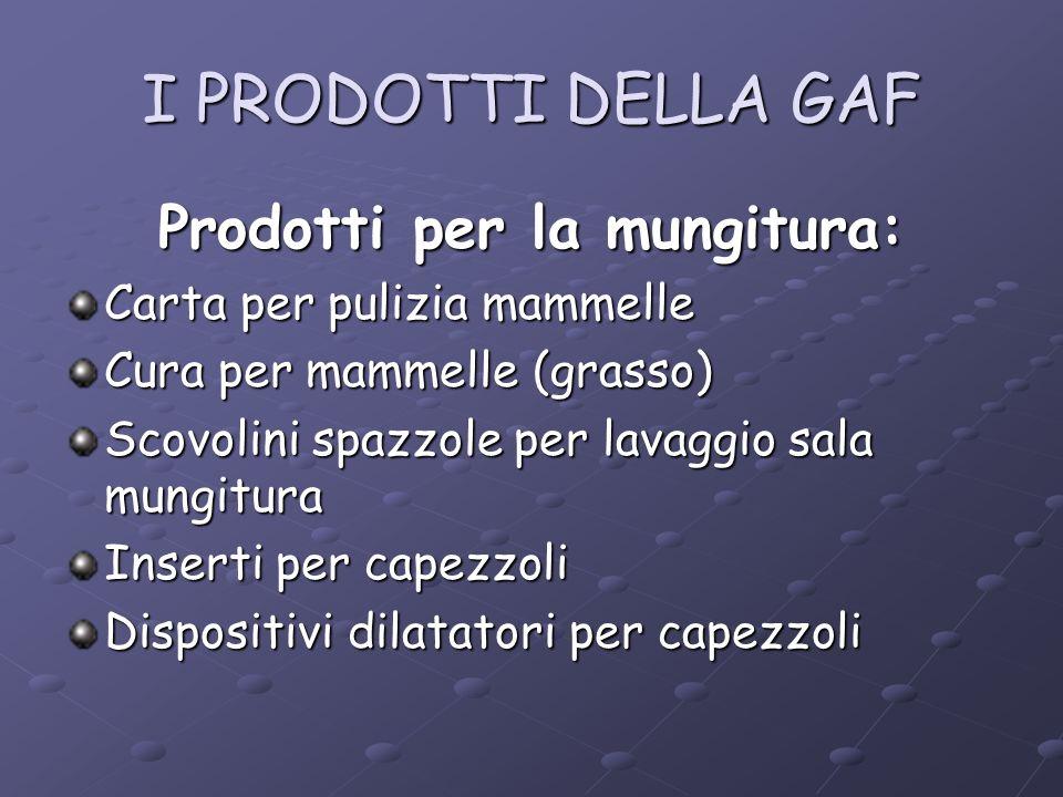 I PRODOTTI DELLA GAF Prodotti per la mungitura: Carta per pulizia mammelle Cura per mammelle (grasso) Scovolini spazzole per lavaggio sala mungitura I