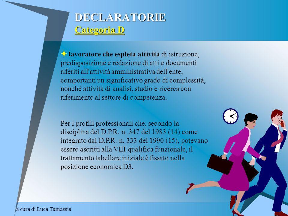 a cura di Luca Tamassia DECLARATORIE Categoria D lavoratore che espleta attività di istruzione, predisposizione e redazione di atti e documenti riferi