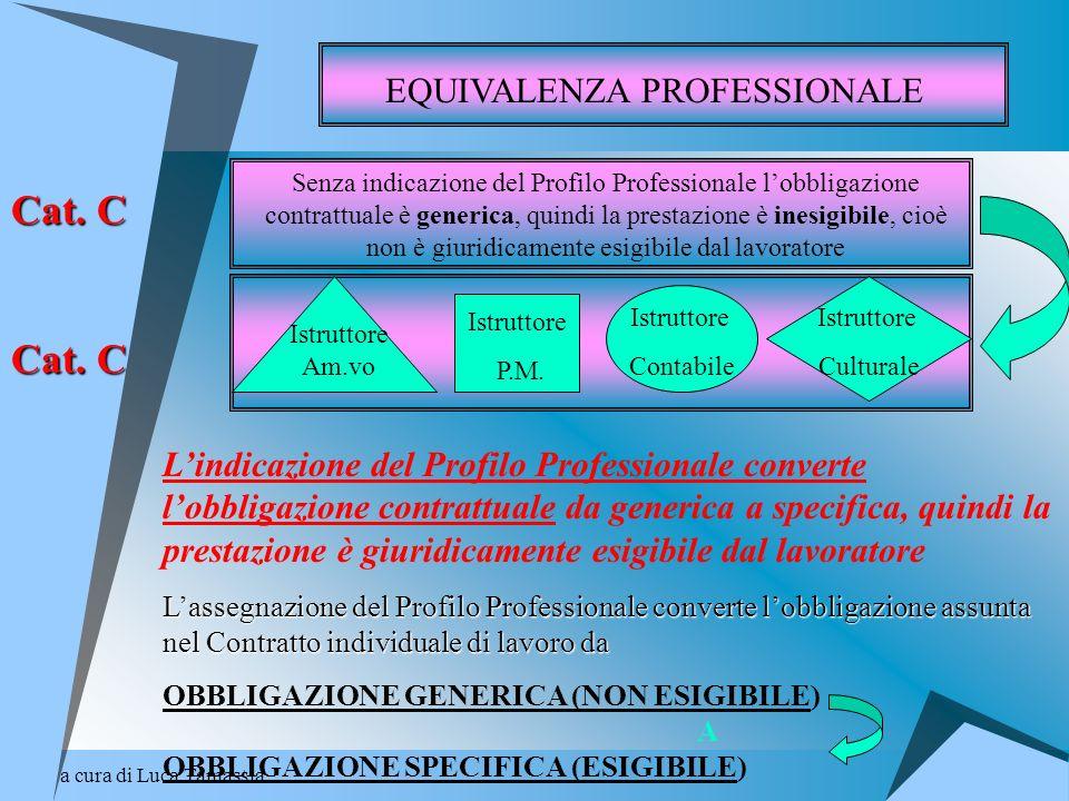 a cura di Luca Tamassia EQUIVALENZA PROFESSIONALE Senza indicazione del Profilo Professionale lobbligazione contrattuale è generica, quindi la prestaz