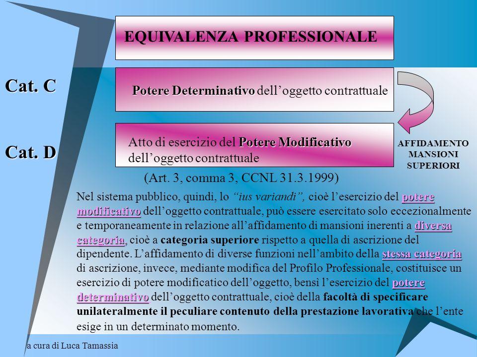 a cura di Luca Tamassia AFFIDAMENTO MANSIONI SUPERIORI EQUIVALENZA PROFESSIONALE Potere Determinativo Potere Determinativo delloggetto contrattuale Po