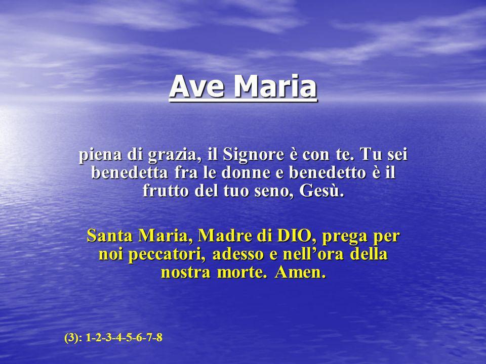 Ave Maria piena di grazia, il Signore è con te. Tu sei benedetta fra le donne e benedetto è il frutto del tuo seno, Gesù. Santa Maria, Madre di DIO, p