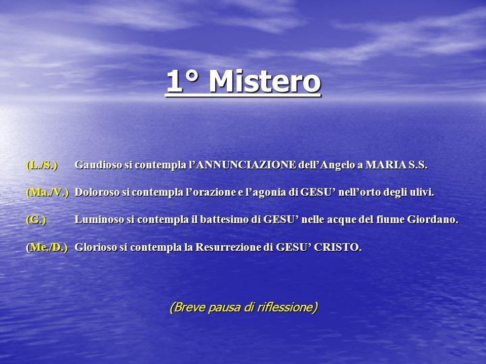 1° Mistero (L./S.) Gaudioso si contempla lANNUNCIAZIONE dellAngelo a MARIA S.S. (Ma./V.) Doloroso si contempla lorazione e lagonia di GESU nellorto de