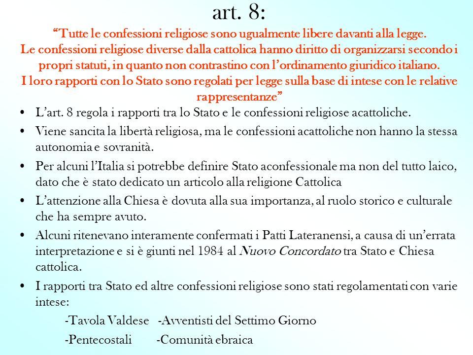 art. 8: Tutte le confessioni religiose sono ugualmente libere davanti alla legge. Le confessioni religiose diverse dalla cattolica hanno diritto di or