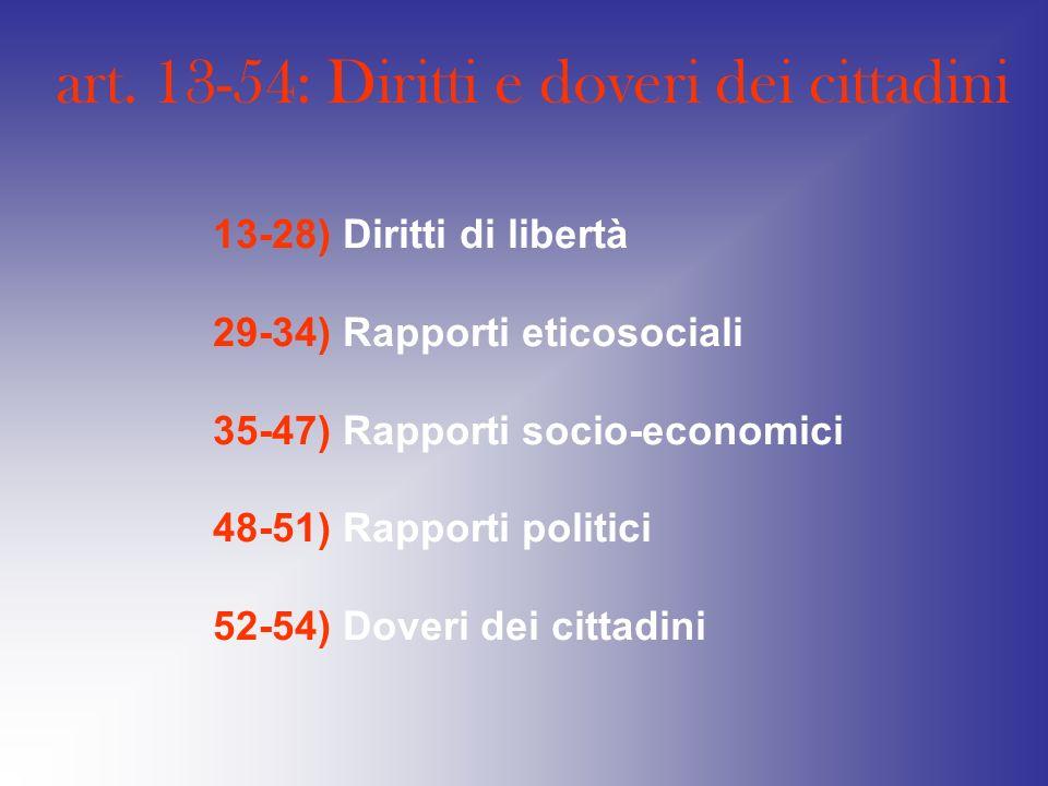art. 13-54: Diritti e doveri dei cittadini 13-28) Diritti di libertà 29-34) Rapporti eticosociali 35-47) Rapporti socio-economici 48-51) Rapporti poli