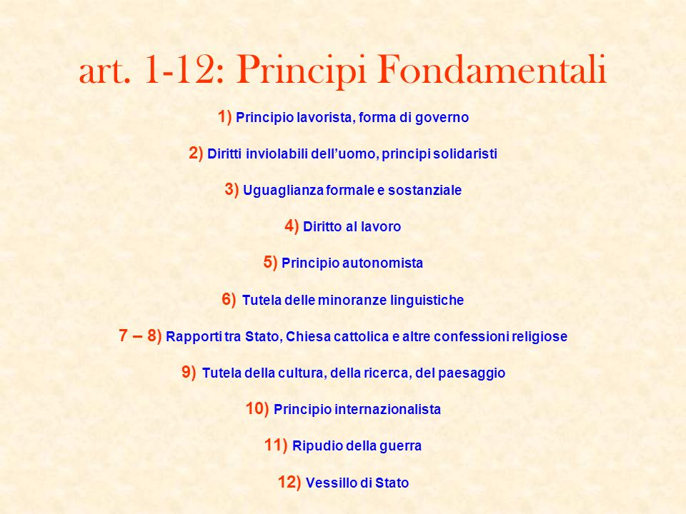 art. 1-12: Principi Fondamentali 1) Principio lavorista, forma di governo 2) Diritti inviolabili delluomo, principi solidaristi 3) Uguaglianza formale