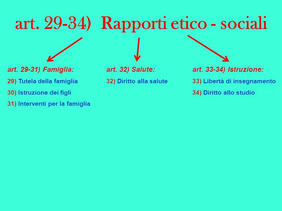 art. 29-34) Rapporti etico - sociali art. 29-31) Famiglia: 29) Tutela della famiglia 30) Istruzione dei figli 31) Interventi per la famiglia art. 32)
