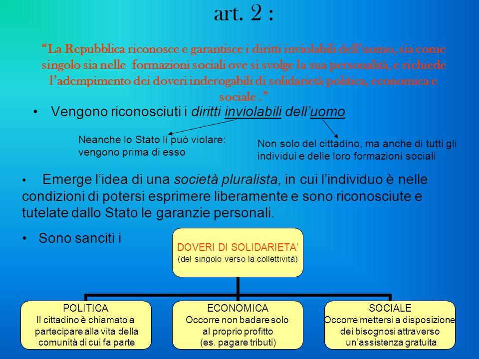 art. 2 : La Repubblica riconosce e garantisce i diritti inviolabili delluomo, sia come singolo sia nelle formazioni sociali ove si svolge la sua perso