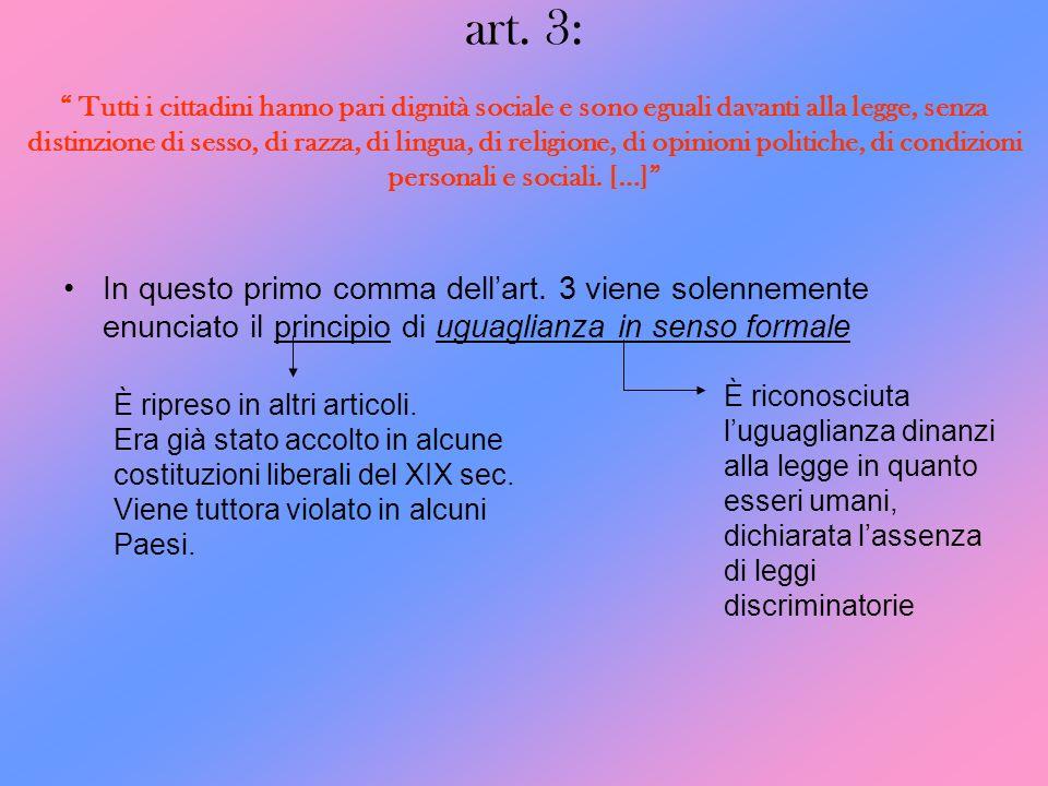 art. 3: Tutti i cittadini hanno pari dignità sociale e sono eguali davanti alla legge, senza distinzione di sesso, di razza, di lingua, di religione,