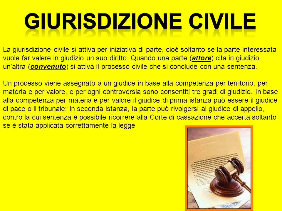La giurisdizione civile si attiva per iniziativa di parte, cioè soltanto se la parte interessata vuole far valere in giudizio un suo diritto. Quando u
