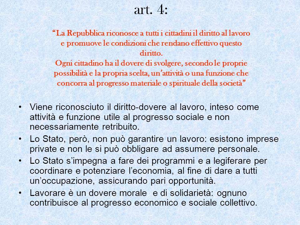 art. 4: La Repubblica riconosce a tutti i cittadini il diritto al lavoro e promuove le condizioni che rendano effettivo questo diritto. Ogni cittadino