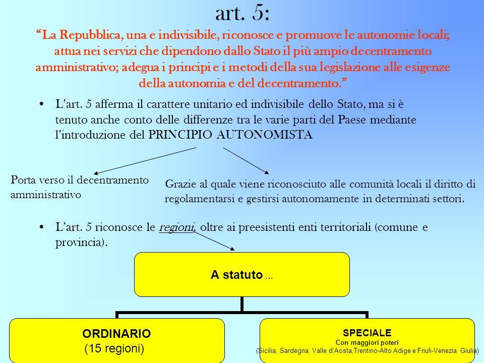 art. 5: La Repubblica, una e indivisibile, riconosce e promuove le autonomie locali; attua nei servizi che dipendono dallo Stato il più ampio decentra