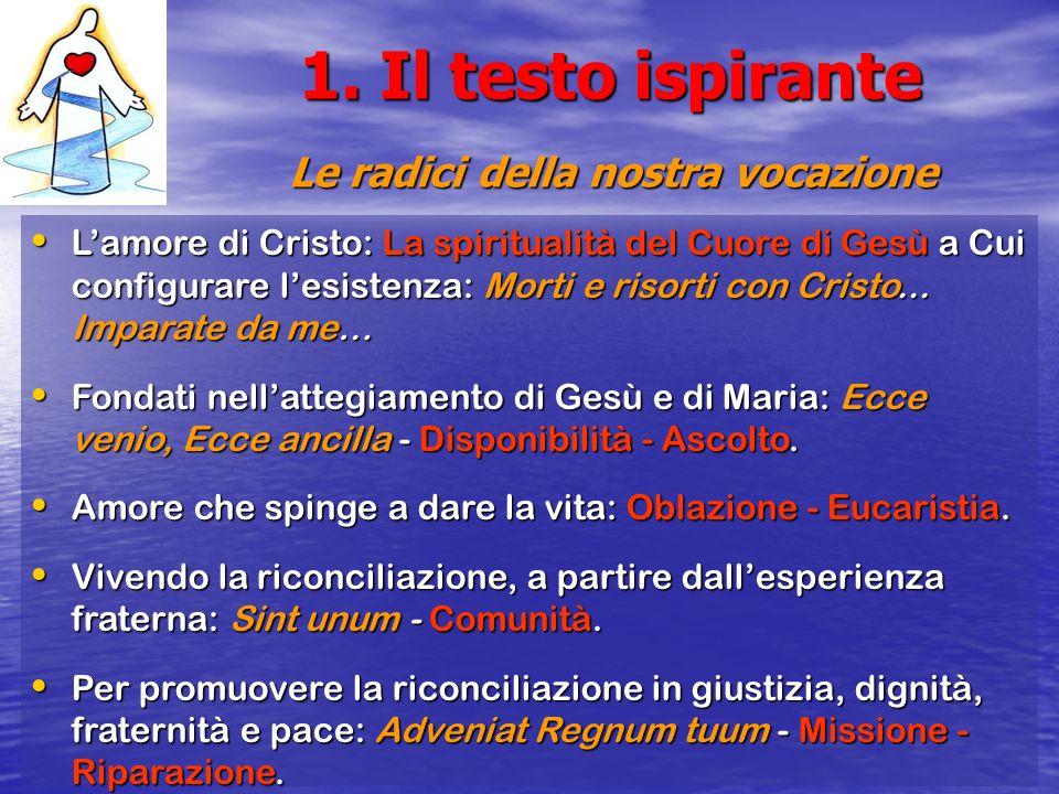 1. Il testo ispirante Le radici della nostra vocazione Lamore di Cristo: La spiritualità del Cuore di Gesù a Cui configurare lesistenza: Morti e risor