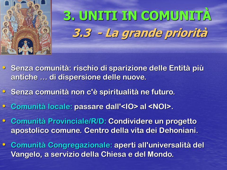 3. UNITI IN COMUNITÀ 3.3 - La grande priorità Senza comunità: rischio di sparizione delle Entità più antiche … di dispersione delle nuove. Senza comun