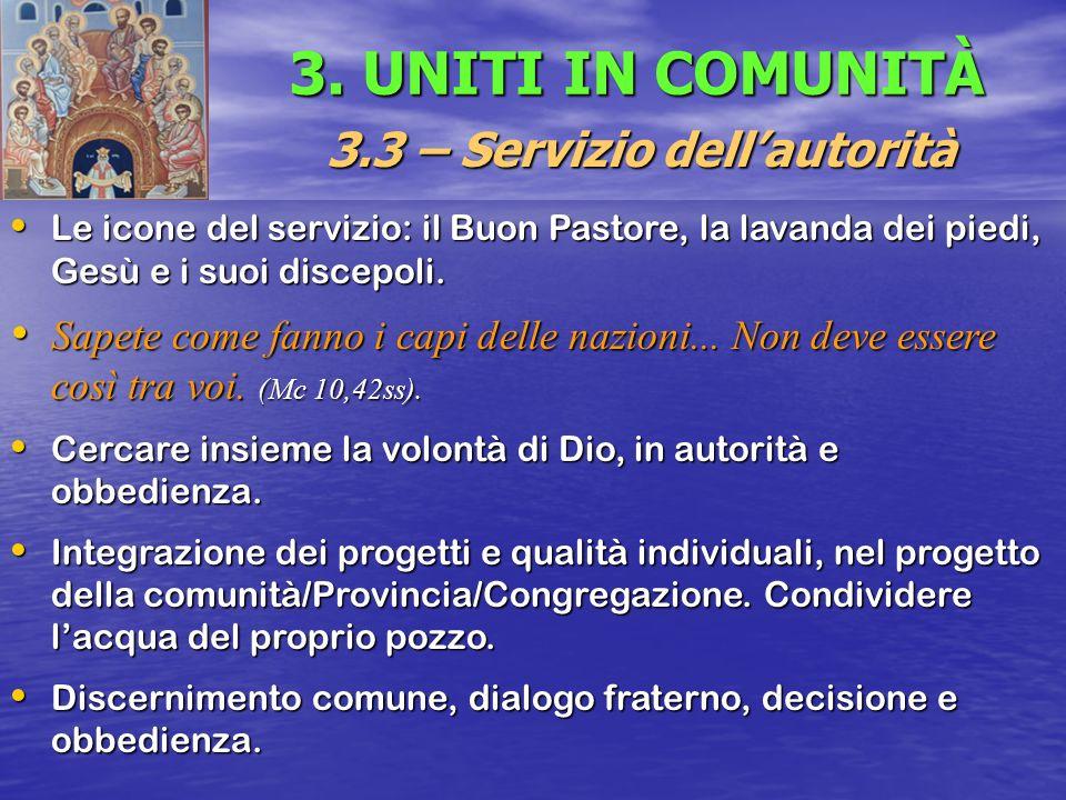 3. UNITI IN COMUNITÀ 3.3 – Servizio dellautorità Le icone del servizio: il Buon Pastore, la lavanda dei piedi, Gesù e i suoi discepoli. Le icone del s