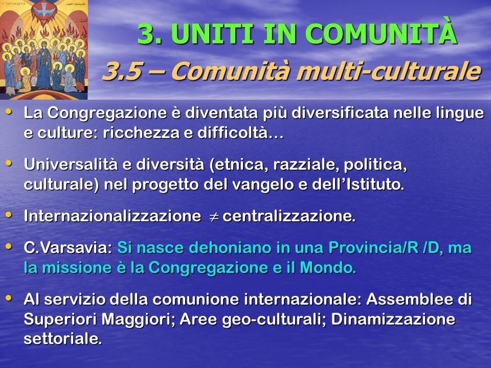 3. UNITI IN COMUNITÀ 3.5 – Comunità multi-culturale La Congregazione è diventata più diversificata nelle lingue e culture: ricchezza e difficoltà… La