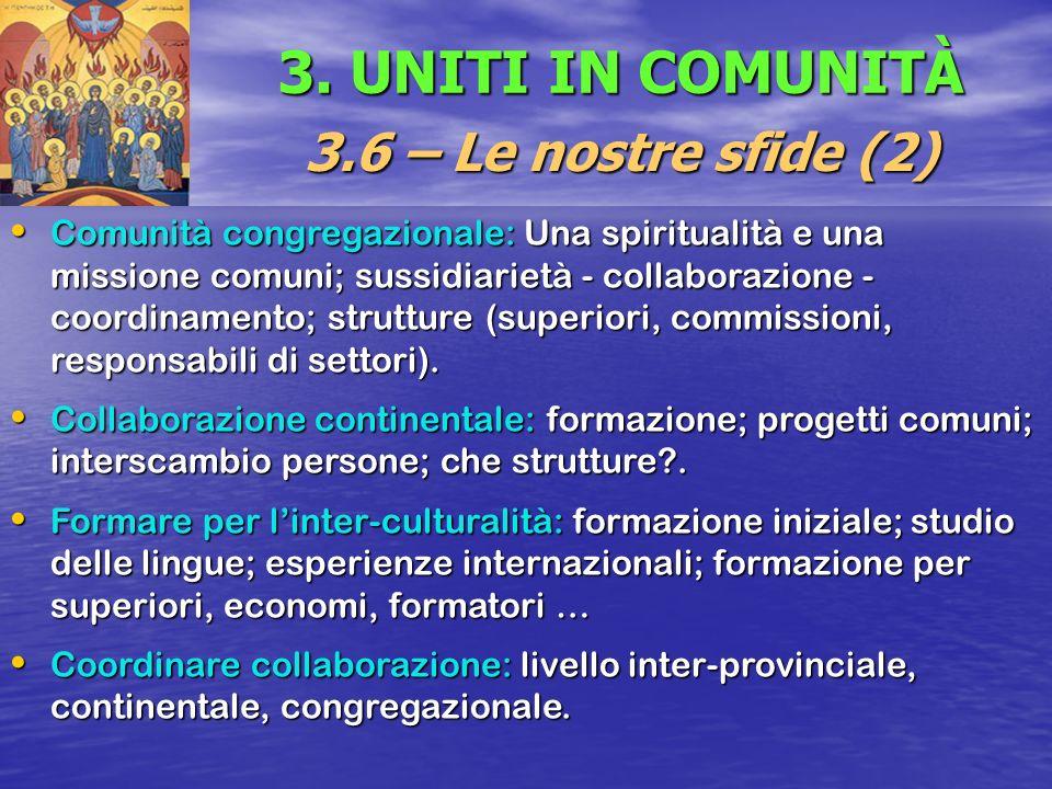 3. UNITI IN COMUNITÀ 3.6 – Le nostre sfide (2) Comunità congregazionale: Una spiritualità e una missione comuni; sussidiarietà - collaborazione - coor