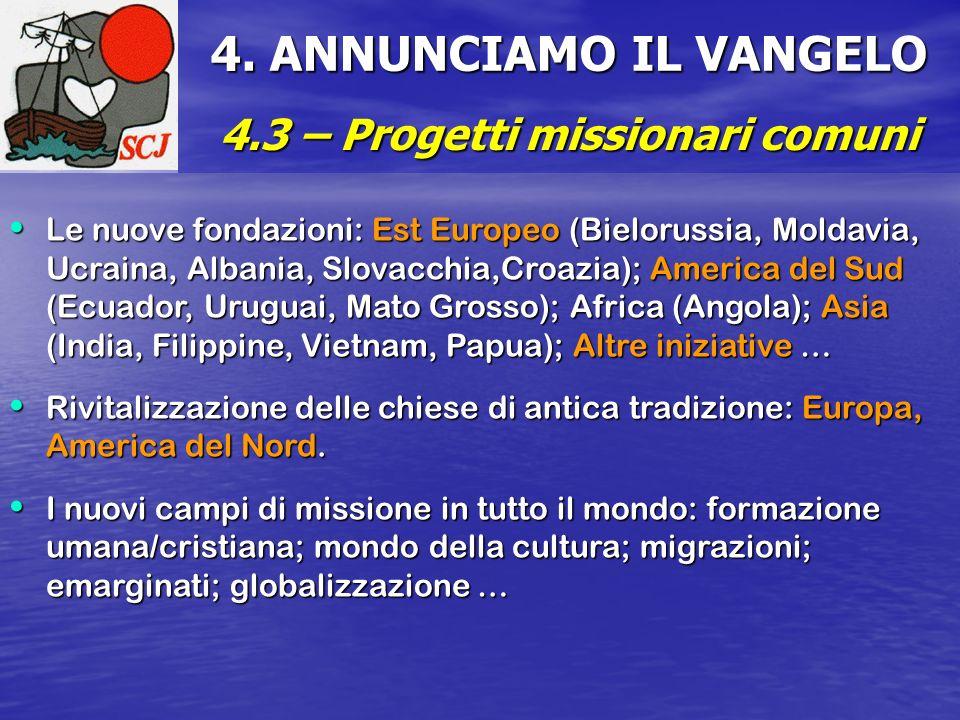 4. ANNUNCIAMO IL VANGELO 4.3 – Progetti missionari comuni Le nuove fondazioni: Est Europeo (Bielorussia, Moldavia, Ucraina, Albania, Slovacchia,Croazi