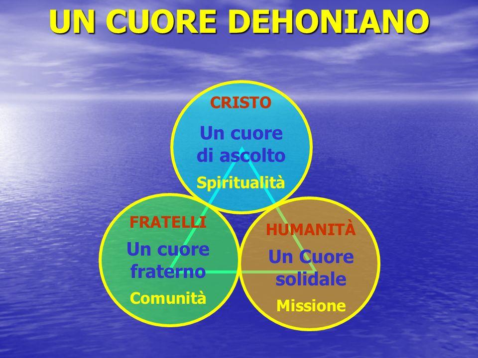 CRISTO Un cuore di ascolto Spiritualità FRATELLI Un cuore fraterno Comunità HUMANITÀ Un Cuore solidale Missione UN CUORE DEHONIANO