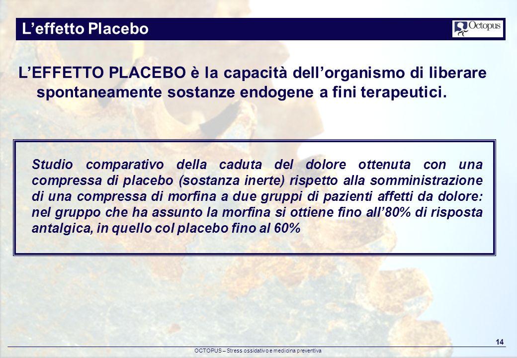OCTOPUS – Stress ossidativo e medicina preventiva 14 Leffetto Placebo LEFFETTO PLACEBO è la capacità dellorganismo di liberare spontaneamente sostanze