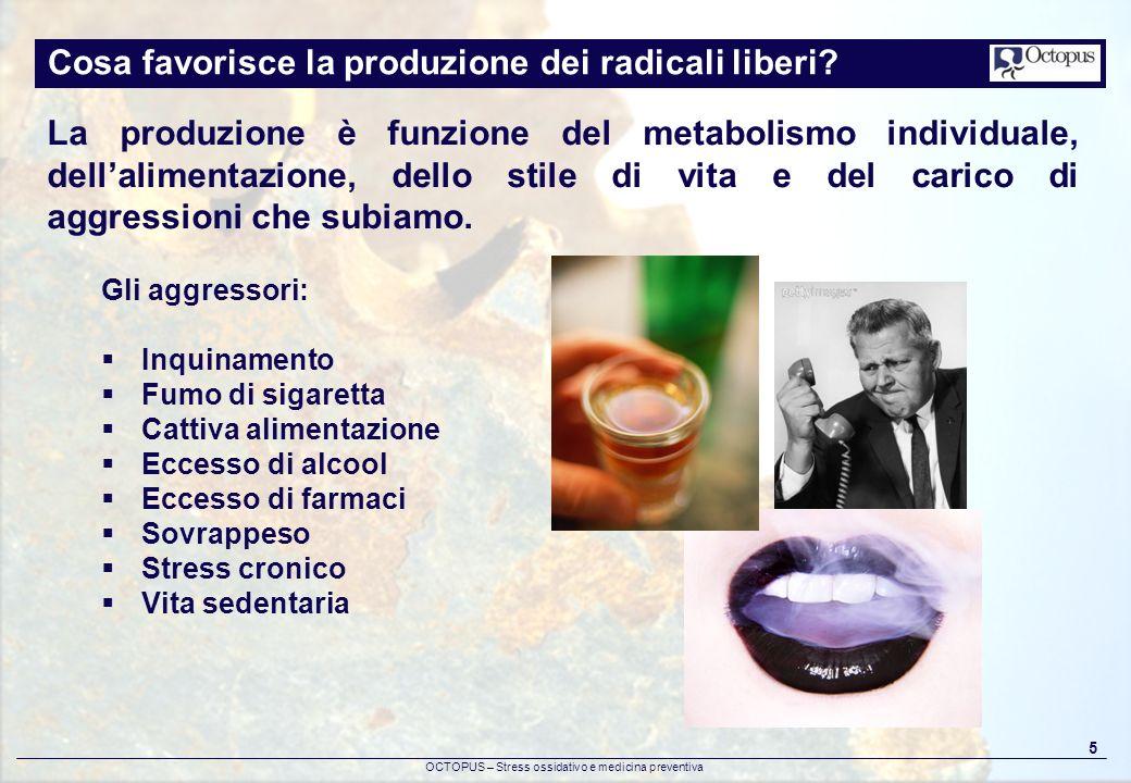 OCTOPUS – Stress ossidativo e medicina preventiva 5 Cosa favorisce la produzione dei radicali liberi? La produzione è funzione del metabolismo individ