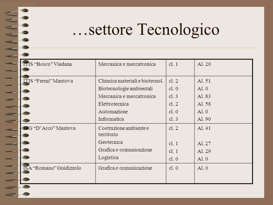 …settore Tecnologico ITIS Bosco ViadanaMeccanica e meccatronicacl. 1Al. 20 ITIS Fermi MantovaChimica materiali e biotecnol. Biotecnologie ambientali M