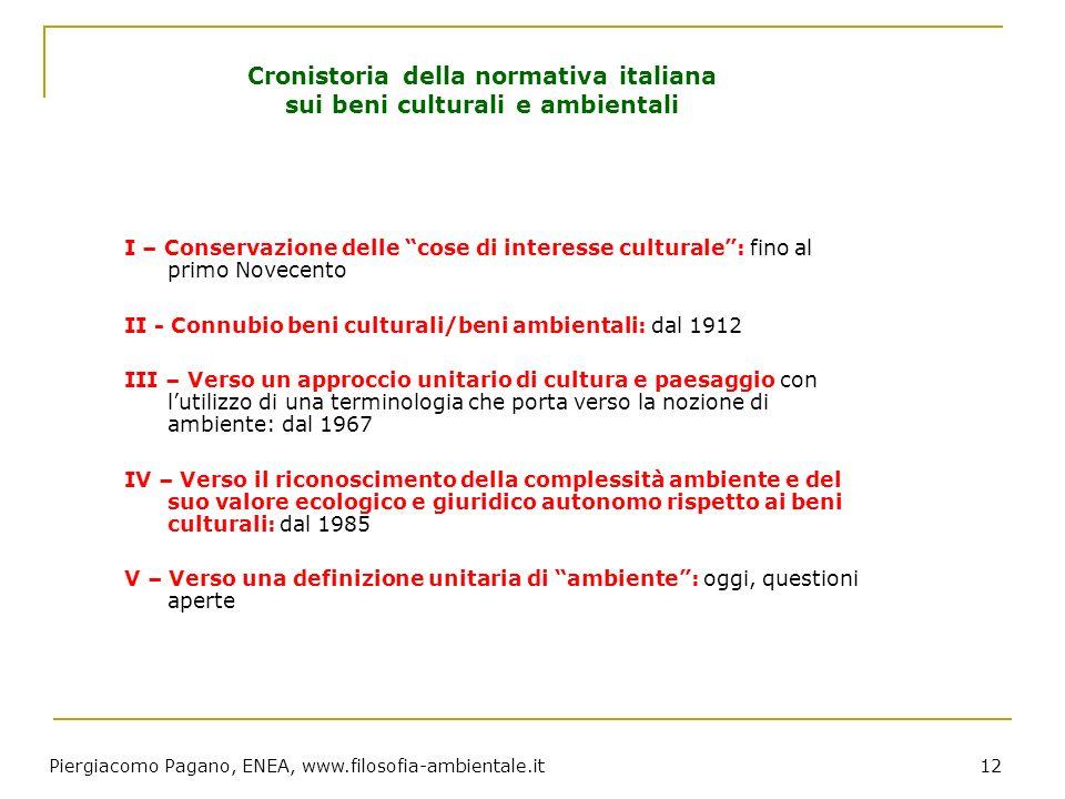 Piergiacomo Pagano, ENEA, www.filosofia-ambientale.it 12 Cronistoria della normativa italiana sui beni culturali e ambientali I – Conservazione delle