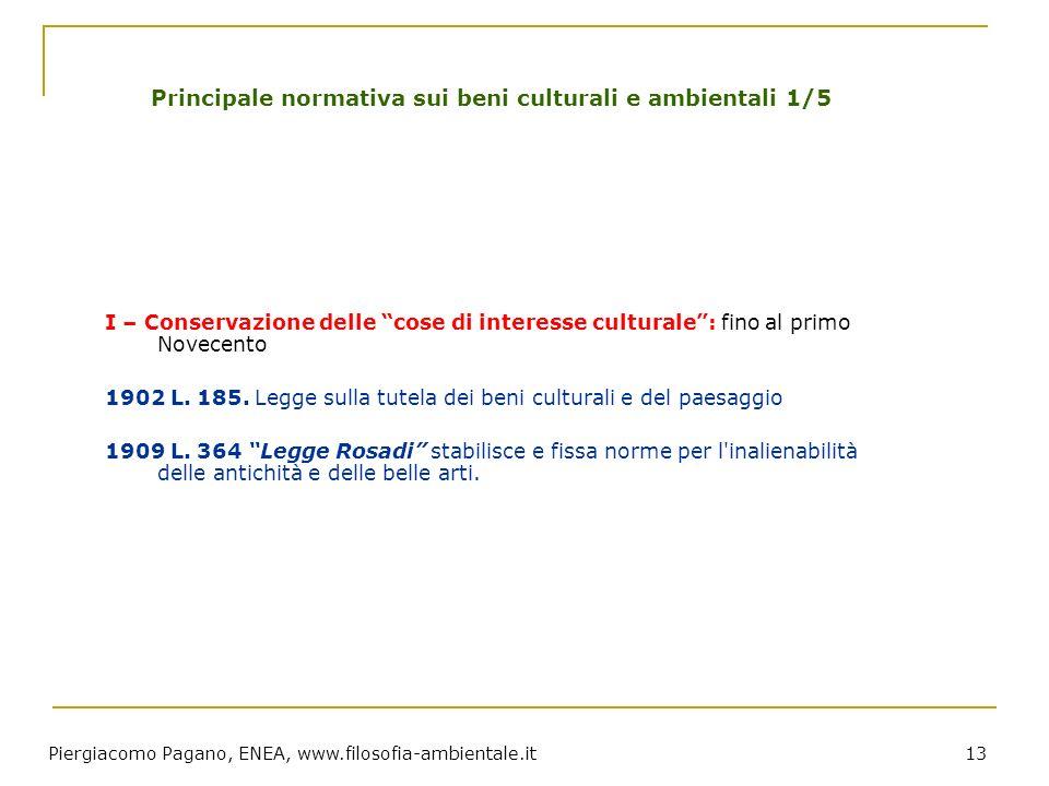Piergiacomo Pagano, ENEA, www.filosofia-ambientale.it 13 Principale normativa sui beni culturali e ambientali 1/5 I – Conservazione delle cose di inte