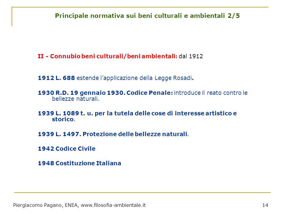 Piergiacomo Pagano, ENEA, www.filosofia-ambientale.it 14 Principale normativa sui beni culturali e ambientali 2/5 II - Connubio beni culturali/beni am