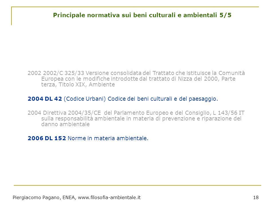 Piergiacomo Pagano, ENEA, www.filosofia-ambientale.it 18 Principale normativa sui beni culturali e ambientali 5/5 2002 2002/C 325/33 Versione consolid