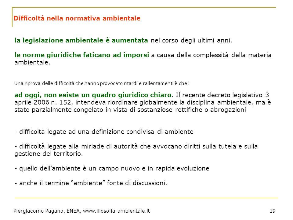 Piergiacomo Pagano, ENEA, www.filosofia-ambientale.it 19 Difficoltà nella normativa ambientale la legislazione ambientale è aumentata nel corso degli
