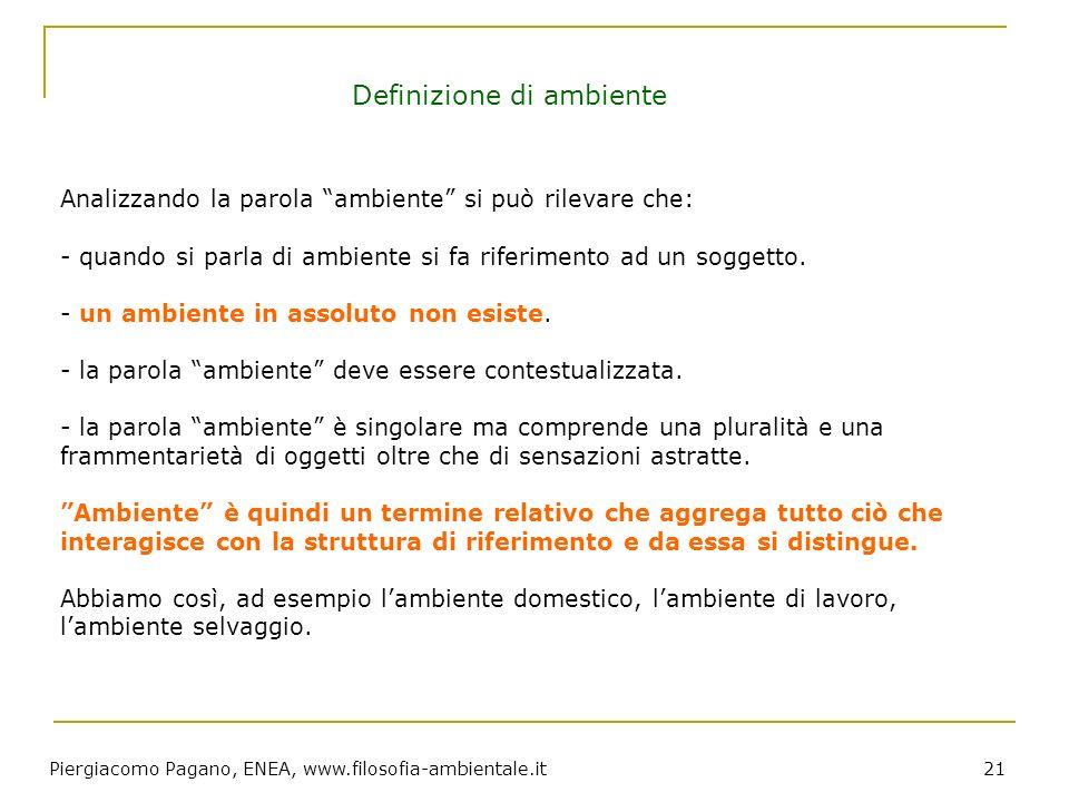 Piergiacomo Pagano, ENEA, www.filosofia-ambientale.it 21 Analizzando la parola ambiente si può rilevare che: - quando si parla di ambiente si fa rifer