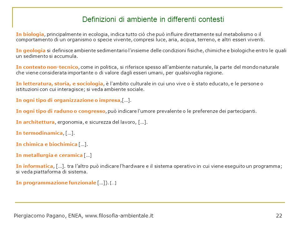 Piergiacomo Pagano, ENEA, www.filosofia-ambientale.it 22 In biologia, principalmente in ecologia, indica tutto ciò che può influire direttamente sul m