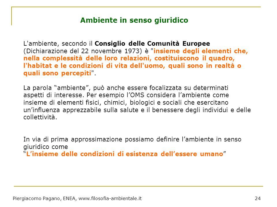Piergiacomo Pagano, ENEA, www.filosofia-ambientale.it 24 L'ambiente, secondo il Consiglio delle Comunità Europee (Dichiarazione del 22 novembre 1973)