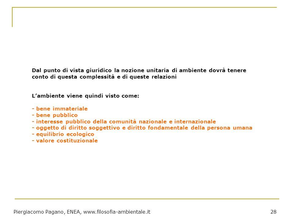 Piergiacomo Pagano, ENEA, www.filosofia-ambientale.it 28 Dal punto di vista giuridico la nozione unitaria di ambiente dovrà tenere conto di questa com