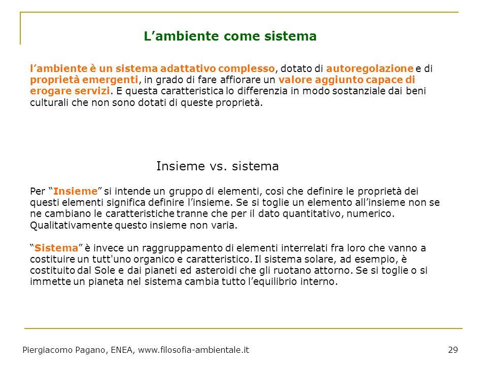 Piergiacomo Pagano, ENEA, www.filosofia-ambientale.it 29 lambiente è un sistema adattativo complesso, dotato di autoregolazione e di proprietà emergen