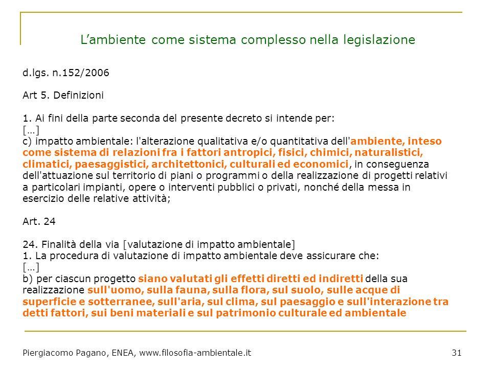Piergiacomo Pagano, ENEA, www.filosofia-ambientale.it 31 d.lgs. n.152/2006 Art 5. Definizioni 1. Ai fini della parte seconda del presente decreto si i