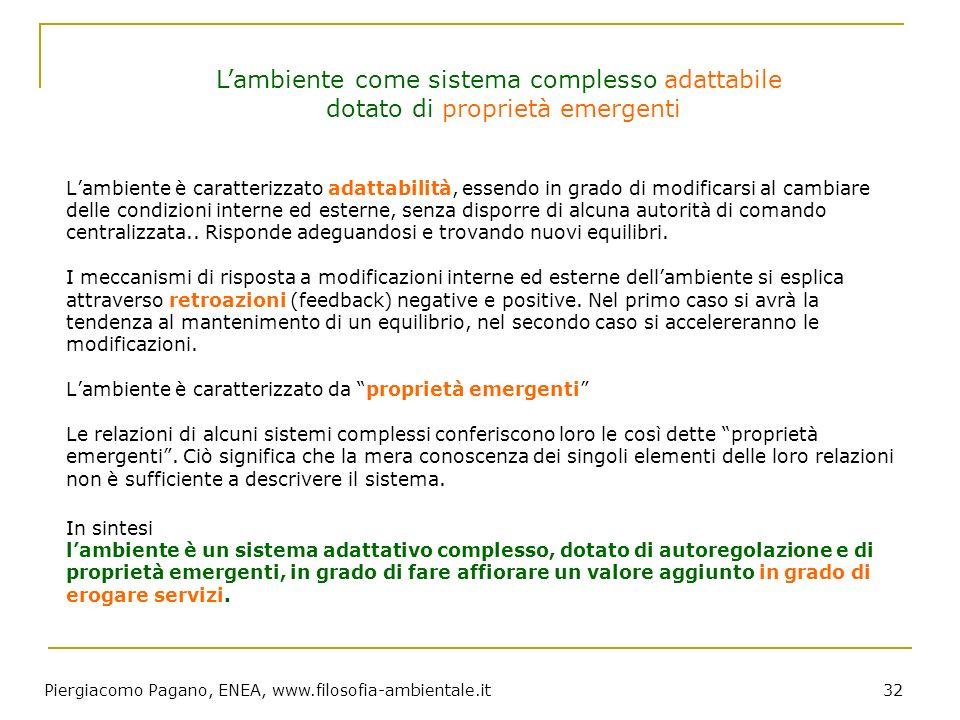 Piergiacomo Pagano, ENEA, www.filosofia-ambientale.it 32 Lambiente è caratterizzato adattabilità, essendo in grado di modificarsi al cambiare delle co
