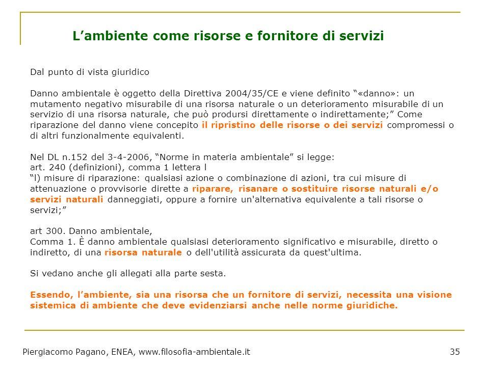Piergiacomo Pagano, ENEA, www.filosofia-ambientale.it 35 Dal punto di vista giuridico Danno ambientale è oggetto della Direttiva 2004/35/CE e viene de
