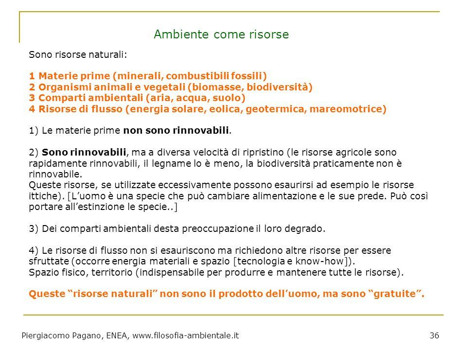 Piergiacomo Pagano, ENEA, www.filosofia-ambientale.it 36 Sono risorse naturali: 1 Materie prime (minerali, combustibili fossili) 2 Organismi animali e